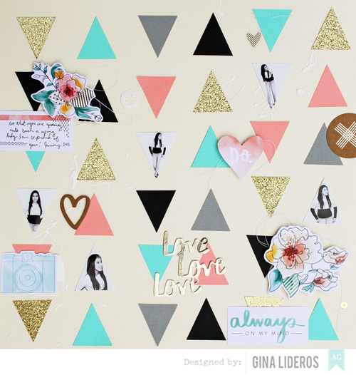 Gina Lideros No Patterned Paper Layout