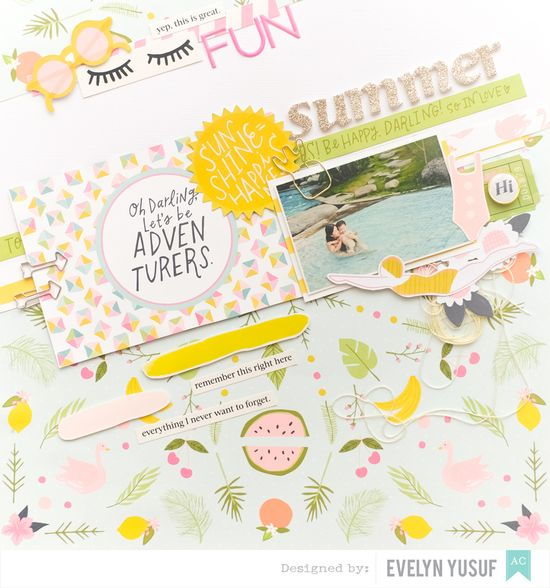 Summer Fun Full Layout American Craft Happy Place Dear  Lizzy by Evelynpy