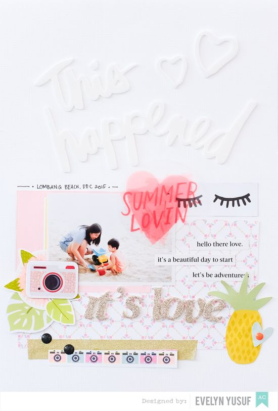 Hello Summer American Crafts Happy Place Full Layout by  Evelynpy