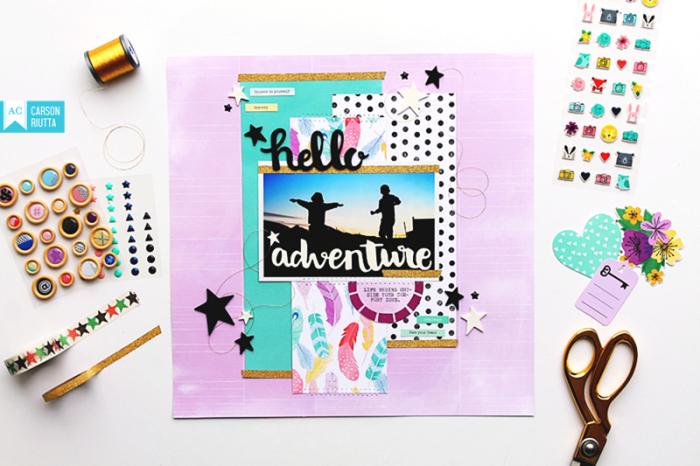 Shimelle Little by Little Scrapbook Layout by Carson Riutta Desk