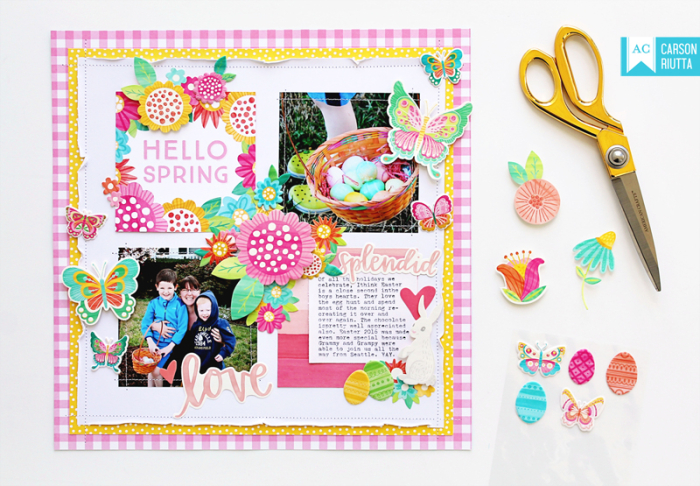 American Crafts Easter Scrapbook Layout by Carson Riutta 1