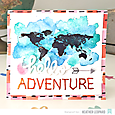 Hello Adventure watercolor card by Heather Leopard AC