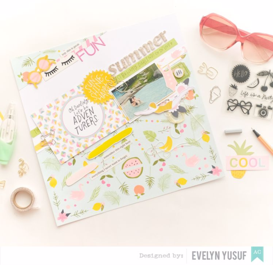Summer Fun Full Layout Stylish Cover American Craft Happy  Place Dear Lizzy by Evelynpy