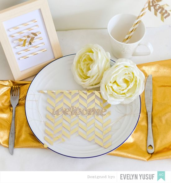 Gold Spring Table Setting by Evelynpy American Crafts DIY  Party Plan Full