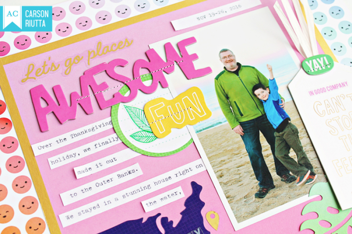 On a Whim scrapbook layout by carson riutta awesome close up