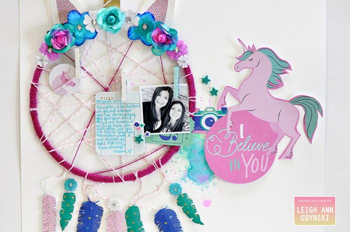 American-crafts-unicorn-dreamcatcher-layout-watercolor-florals-scrapbook-page-photoi2