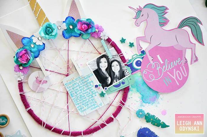 American-crafts-unicorn-dreamcatcher-layout-watercolor-wreath-flowers-photo3