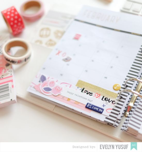 Feb Valentine Planner Spread Monthly Spread Details 1 by   Evelynpy