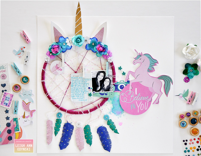 American-crafts-unicorn-dreamcatcher-layout-watercolor-florals-photo1