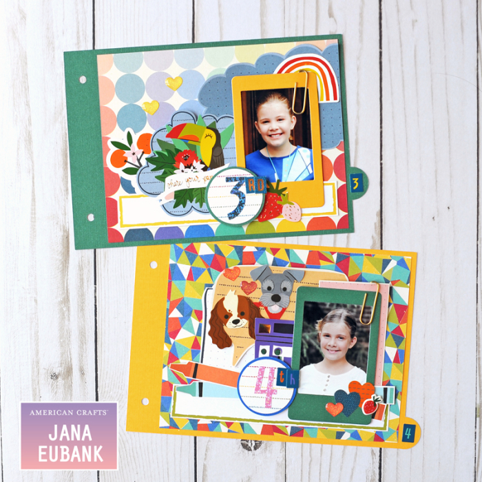 Jana Eubank American Crafts Shimelle Box of Craryons School Mini Album 5 800