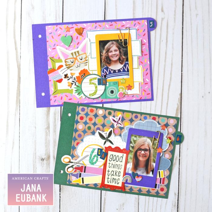 Jana Eubank American Crafts Shimelle Box of Craryons School Mini Album 6 800