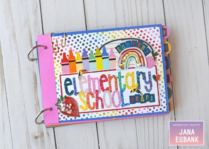 Jana Eubank American Crafts Shimelle Box of Craryons School Mini Album 1 800