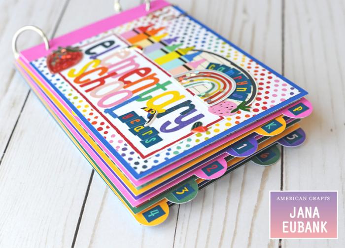 Jana Eubank American Crafts Shimelle Box of Craryons School Mini Album 2 800