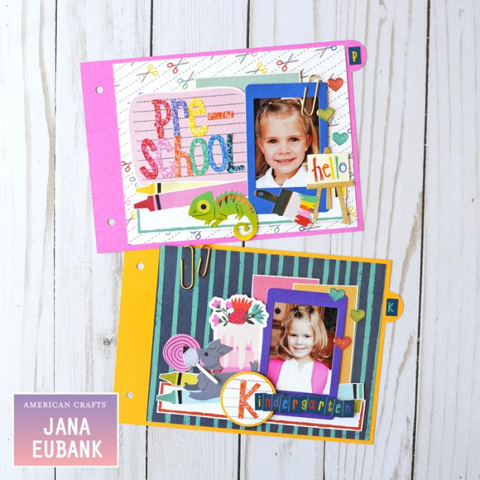 Jana Eubank American Crafts Shimelle Box of Craryons School Mini Album 3 800