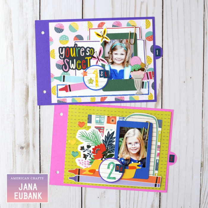 Jana Eubank American Crafts Shimelle Box of Craryons School Mini Album 4 800