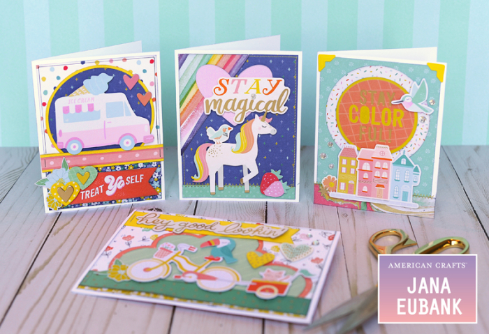 Jana Eubank American Crafts Dear Lizzy Stay Colorful Birthday Cards 1 800
