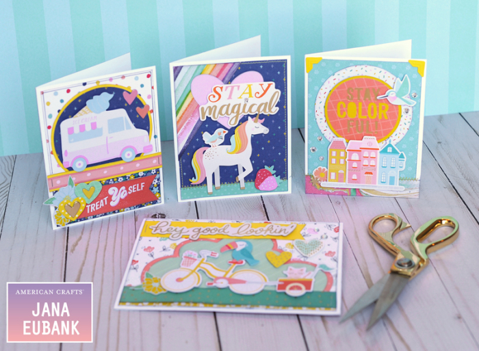 Jana Eubank American Crafts Dear Lizzy Stay Colorful Birthday Cards 6 800
